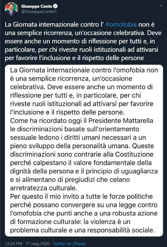 Giuseppe Conte per la Giornata Internazionale contro l'omolesbobitransfobia